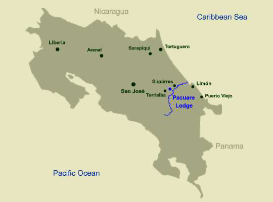 Location Map, Pacuare Lodge, Pacuare River, Costa Rica